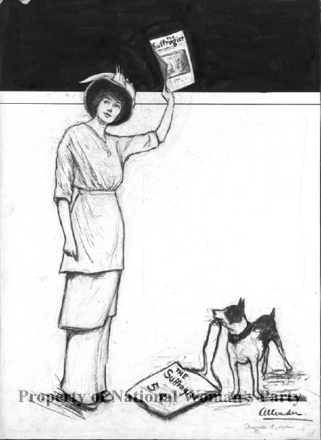 "A woman holds up a copy of ""The Suffragist."" A small dog beside the woman has the strap of a bag in his mouth; the bag reads ""The Suffragist, 5 cents."