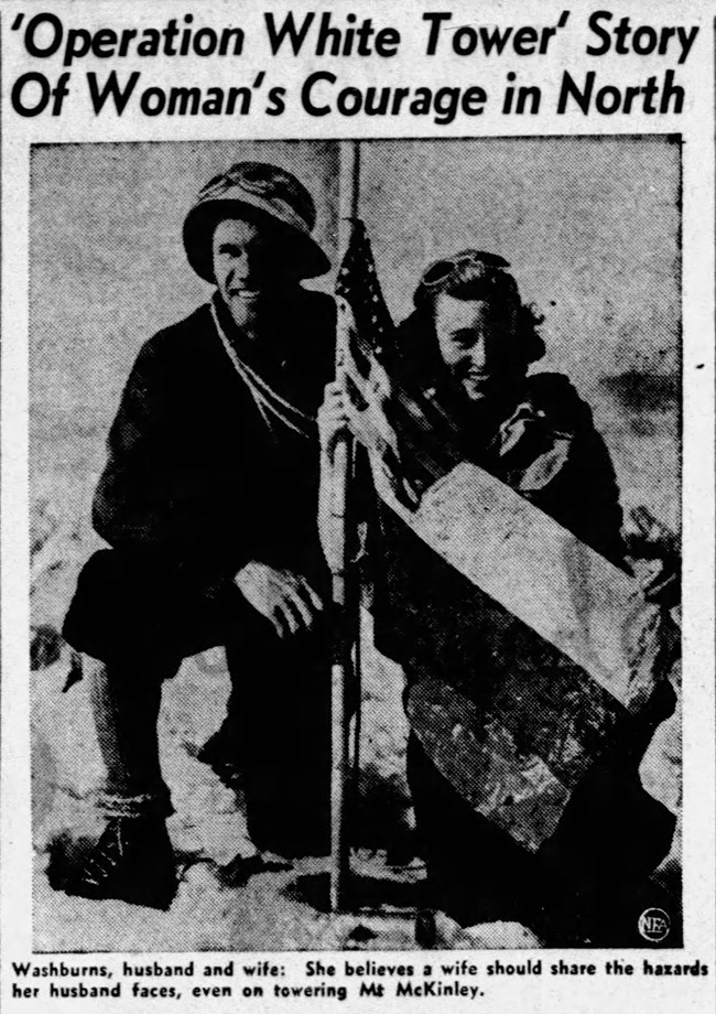 "newspaper clipping of a man and woman kneeling atop a mountain. a headline reads ""operation white tower story of woman's courage in north."""