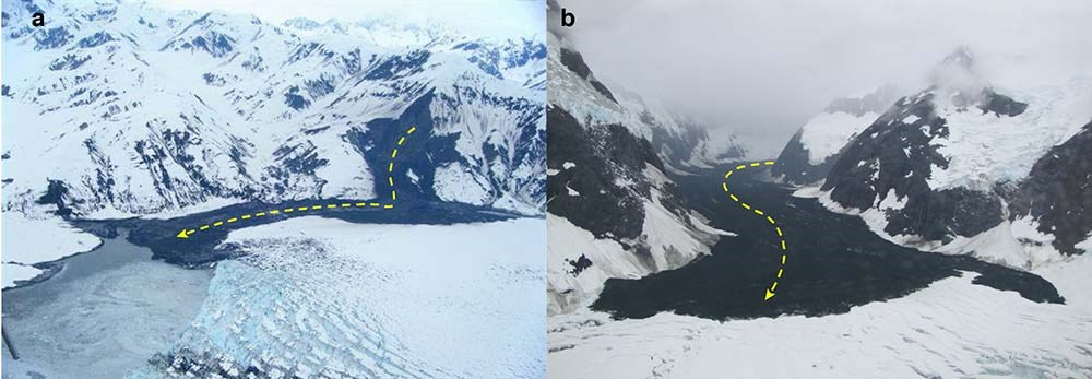 a side-by-side image comparison of rock avalanches