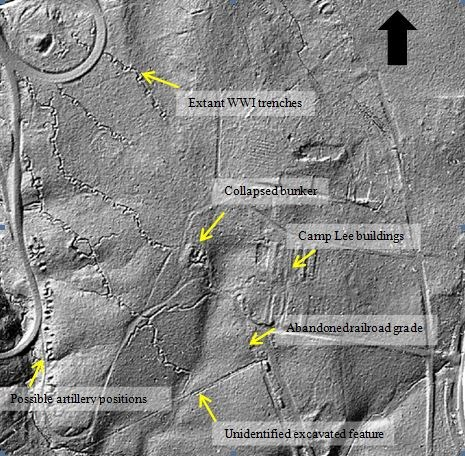 Black and white topographic image showing World War I trenches at Petersburg National Battlefield. Created using a laser scanning technique called lidar.