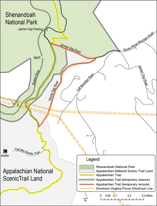 An illustrated map depicting the temporary re-routing of a portion of the Appalachian Trail