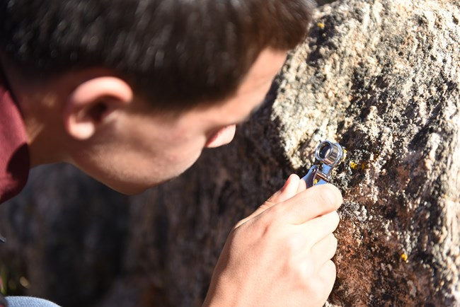 A student holding a small magnifying glass examines a lichen sample on a rock.