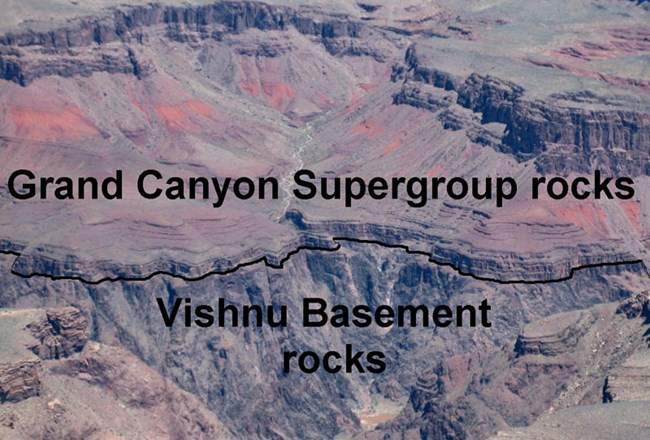 Grand Canyon rocks labeled.