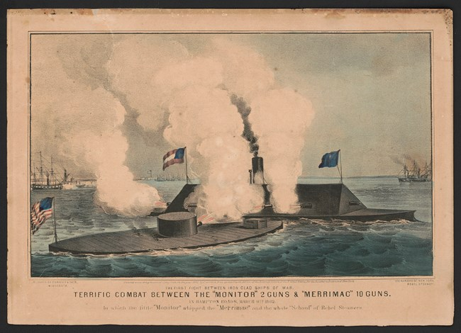 Ironclads battle at Hampton Roads, Virginia