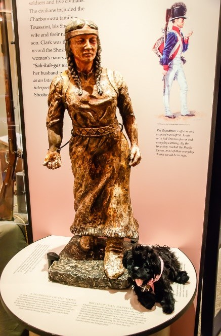 toy dog near statue of Sacajawea