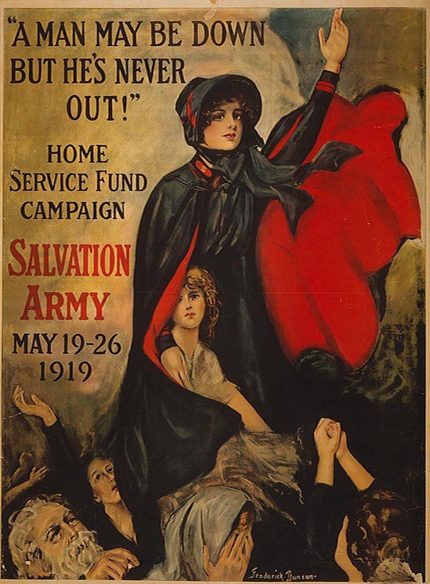Salvation Army poster depicts a cloaked woman sheltering the infirm, promoting the home service fund campaign.