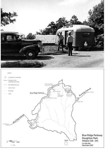 Motorists at Doughton Park Campground and a Site Plan for Doughton Park