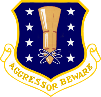 Patch design in blue and yellow featuring a missile and atomic symbol