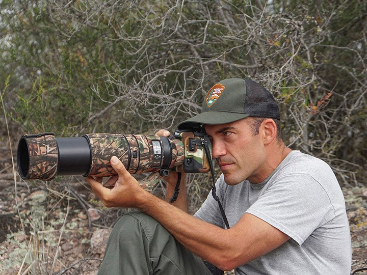 Biologist Gavin Emmons photographing prairie falcon nestlings with a telephoto lens.