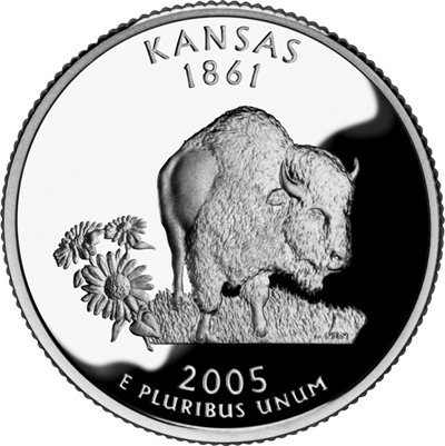 The bison commemorative quarter from Kansas
