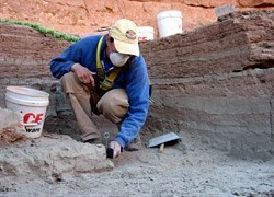 Archaeologist in a geometric hole about two feet down, excavating the earth.
