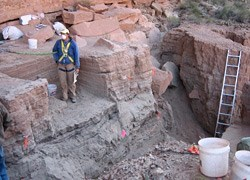 Excavation site with single worker, buckets and ladder to the left.