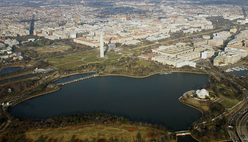 Aerial view of the Tidal Basin with surrounding monuments