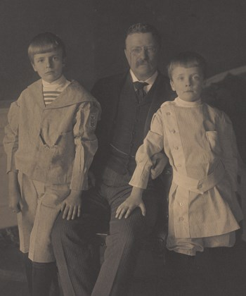 Archie, Quentin, and Theodore Roosevelt pose for a photo.