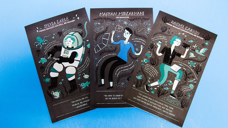 postcards with women scientists on them