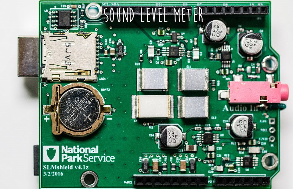 a sound level meter component resembling a computer chip