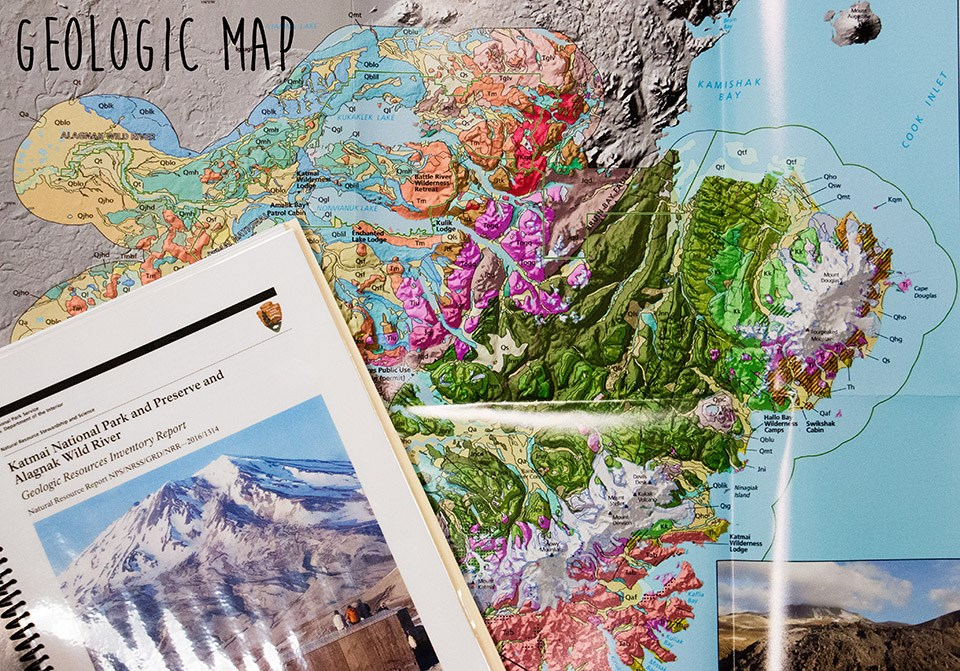 colorful map of Katmai National Park and Preserve