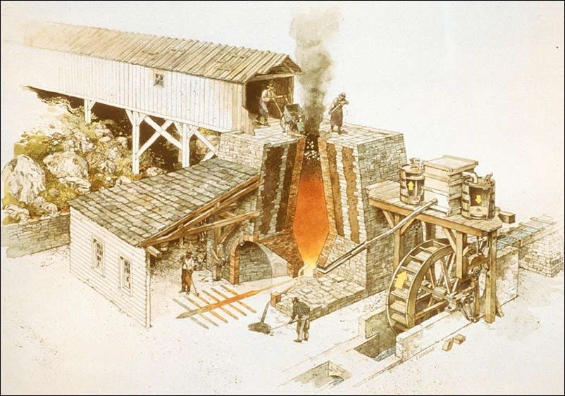 Drawing of 19th-century blast furnace in operation.(National Park Service, Richard Schlecht, illustrator)