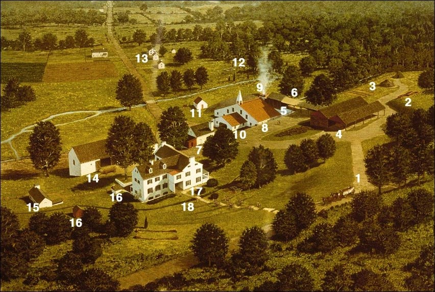Artist's view of Hopewell Furnace National Historic Site in the 1950s.(National Park Service, J. Kenneth Townsend, illustrator)