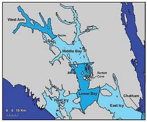 Map of the sub-regions of a Glacier Bay NP whale encounter study