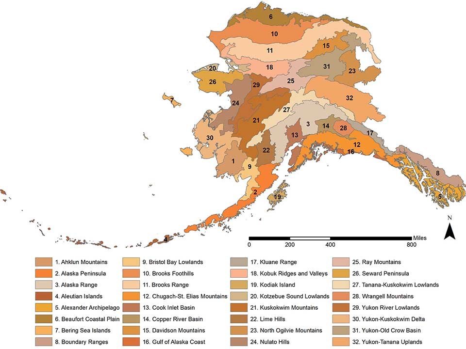 A map of Alaska's ecoregions.