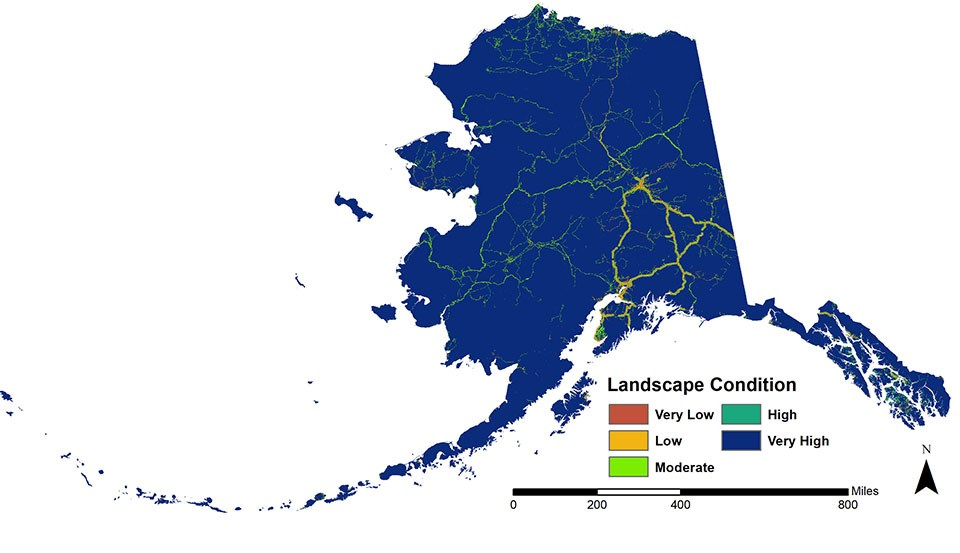 A map of Alaska showing level of intactness.