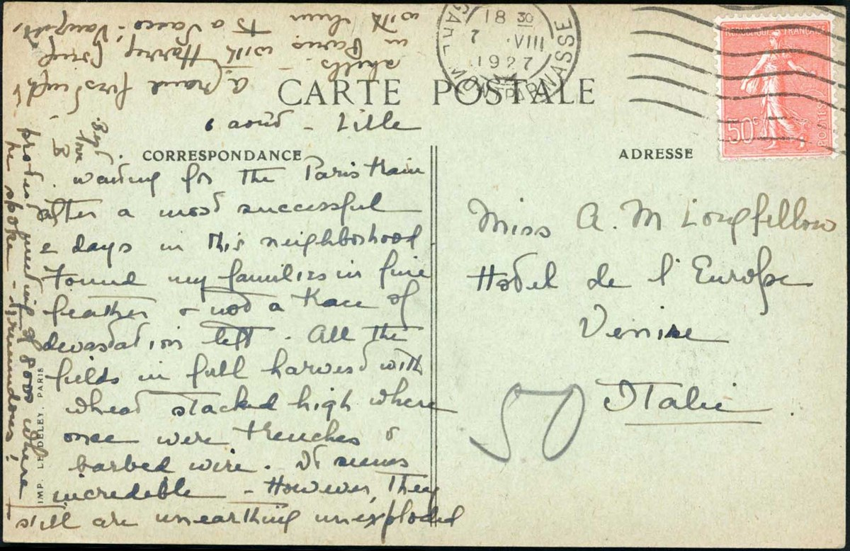 French postcard addressed to Miss A.M. Longfellow in Venice with stamp and postmark