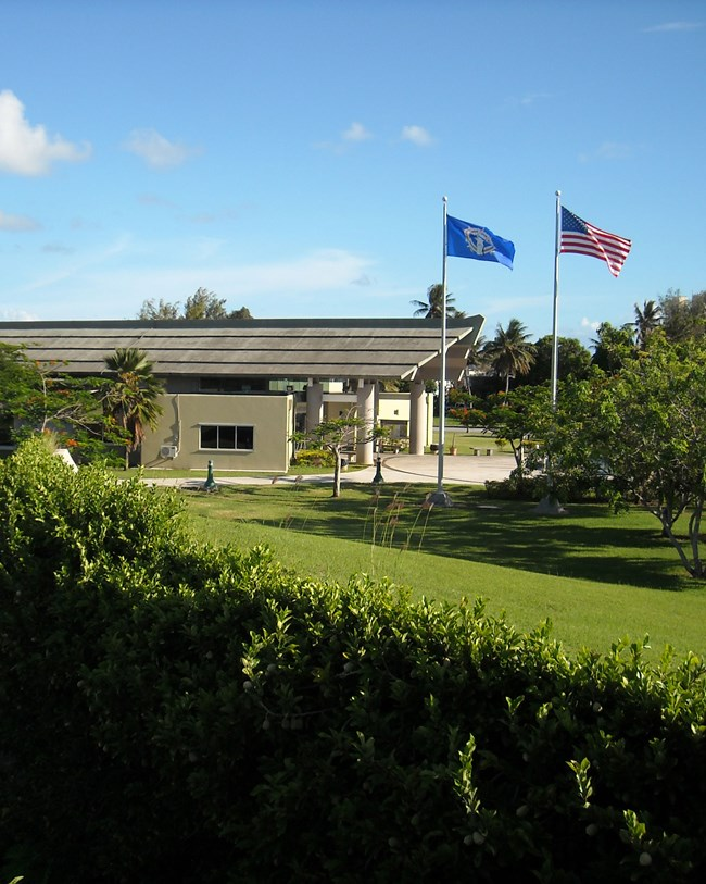 park building and flags