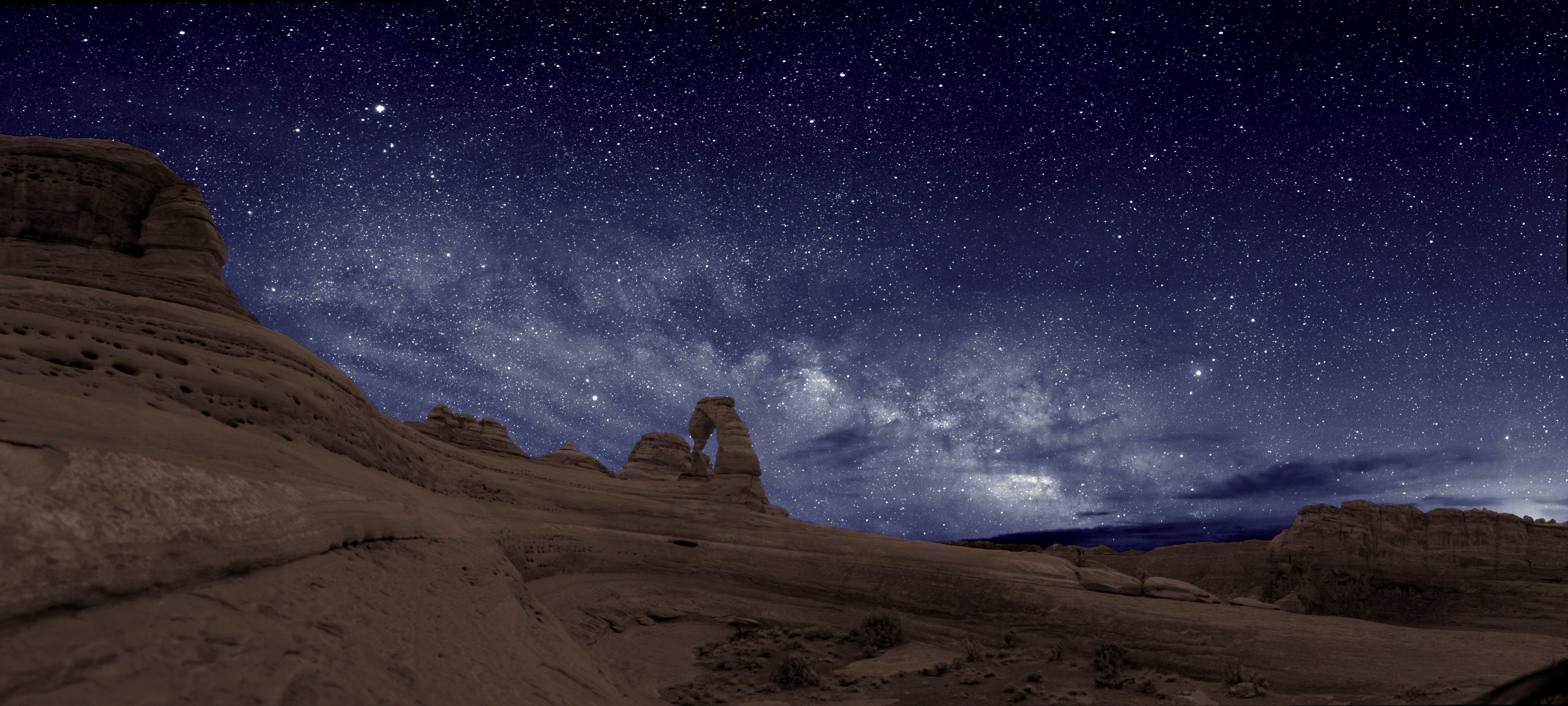 Night sky over Delicate Arch, Arches National Park
