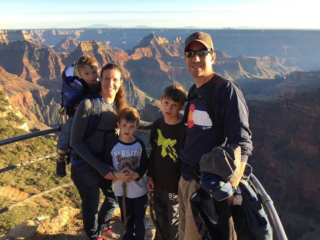 Abel and his family at the North Rim of the Grand Canyon National Park
