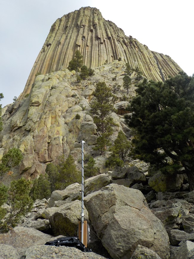 An acoustic device placed in front of Devils Tower