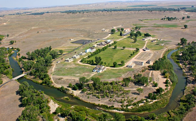 Aerial view of Fort Laramie National Historic site shows the settlement along the North Platte River