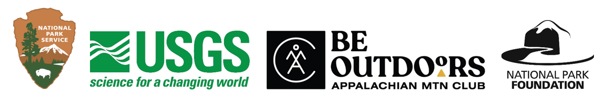 Logos for NPS, USGS, Appalachian Mountain Club, and National Park Foundation.