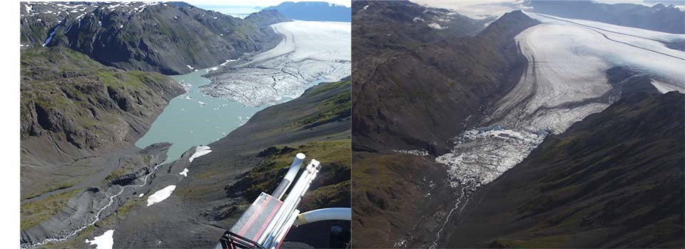 Two photos showing the referenced ice-dammed lake, full in 2009 and empty in 2014.