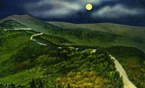Painting of a road winding through hills