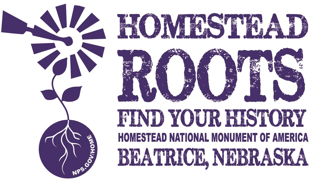 "A blue logo showing a windmill that comes up out of the ground like a flower. The text says ""Homestead Roots, Find Your History, Homestead National Monument of America, Beatrice Nebraska"
