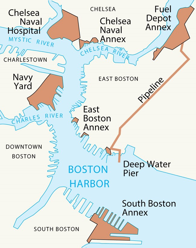 Map oriented north. Map depicts Navy Yard to the northwest. Chelsea Naval Hostpital and Annex to north. Fuel Depot Annex northeast with a pipeline extending southwest. East Boston Annex center and South Boston Annex to the south.