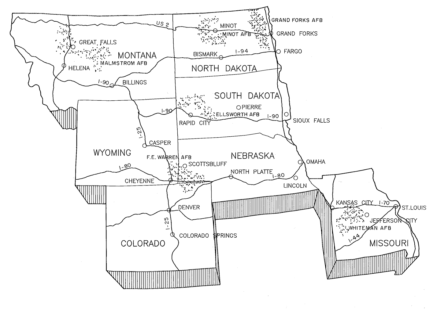 Black and white line drawing of the upper midwest states showing the location of the six missile fields