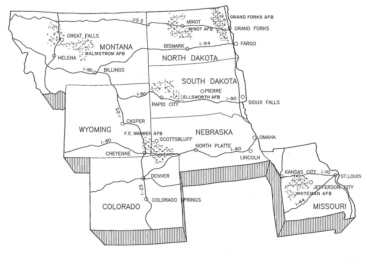 Minuteman missile deployment and site selection us national black and white line drawing of the upper midwest states showing the location of the six sciox Choice Image