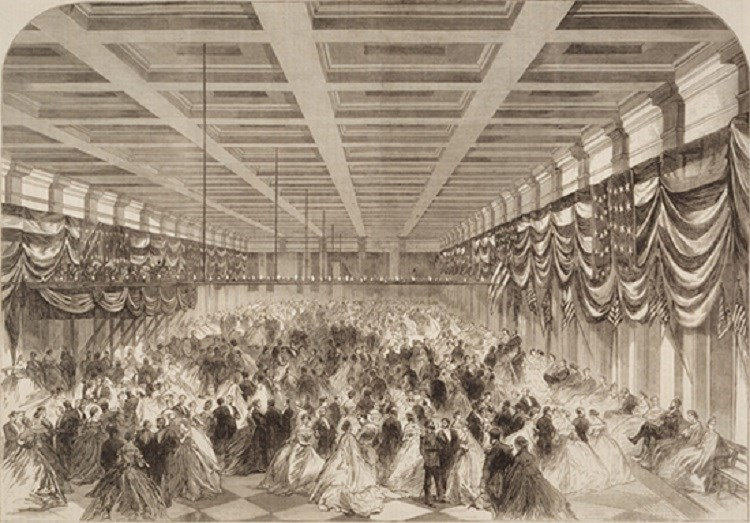 Depiction of Lincoln's Inaugural Ball, (From The Illustrated London News)