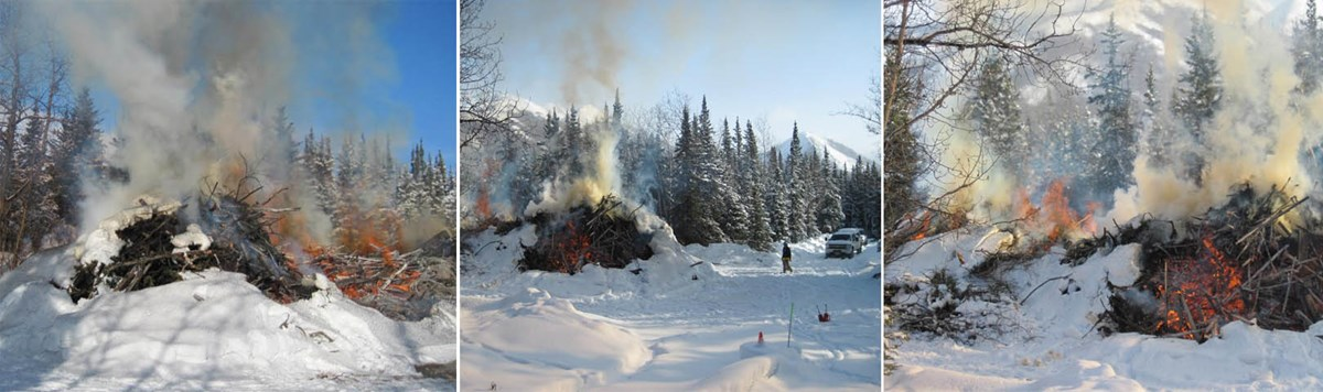 Three side-by-side images that display a large brush pile controlled burning in Denali National Park and Preserve.