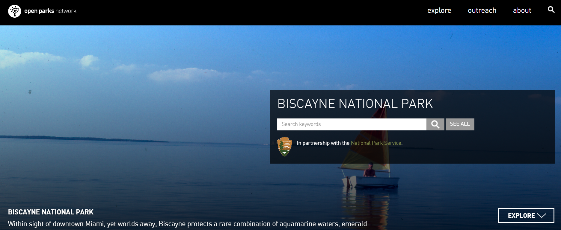 Open Parks Network web page for Biscayne National Park