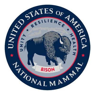 The official seal showing bison as the national mammal