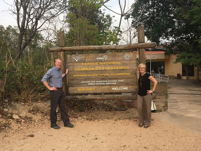 Chris Church and Sarah Bodo at the entrance of Chapada dos Veadeiros National Park, a UNESCO World Heritage Site, on the first morning of the facilitation training.