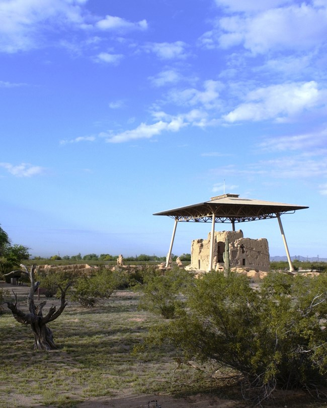casa grande ruins with protective roof above
