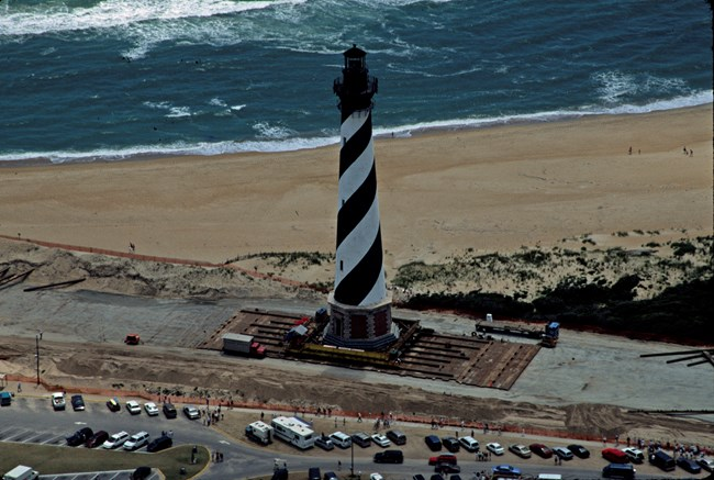 lighthouse being moved
