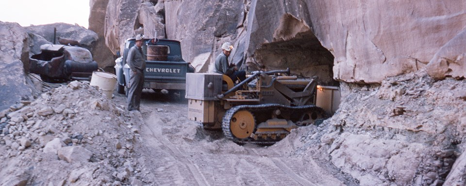 mining equipment working on a gravel road