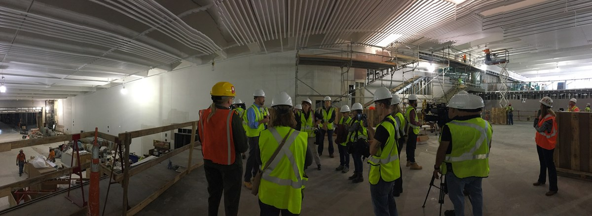 The above photo shows a group of local media in St. Louis receiving a construction tour of the new museum and visitor center.