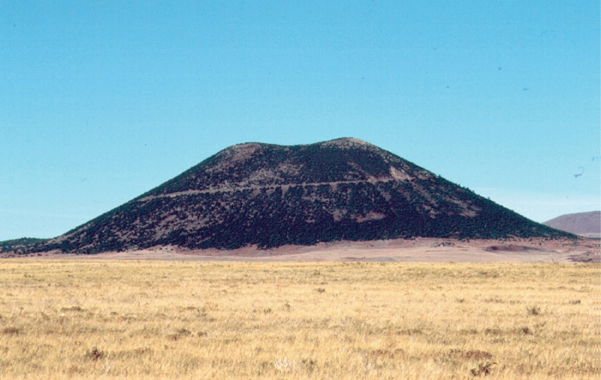 arid landscape with cinder cone