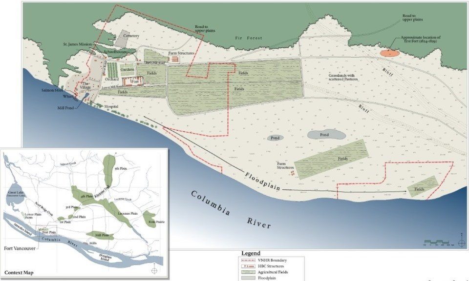Map showing the site as it appeared in the HBC period with the locations of the fort, fields, ponds, and plains marked.
